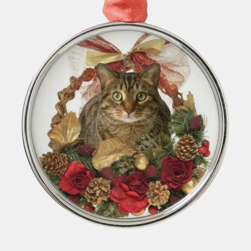 Gato gordo en cesta del navidad ornamento de reyes magos