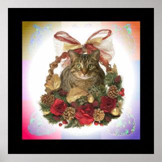 Gato gordo en cesta del navidad póster