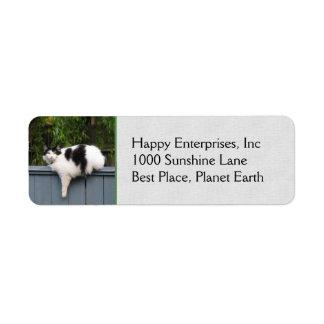 Gato gordo en la cerca etiqueta de remite