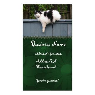 Gato gordo en la cerca tarjetas de visita