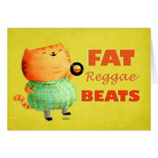 Gato gordo graso graso del reggae tarjeta de felicitación