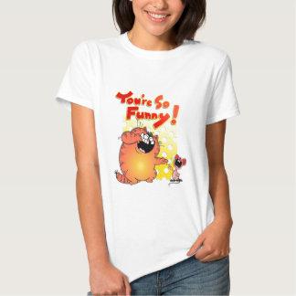 Gato gordo hilarante del dibujo animado + Ratón Camisas