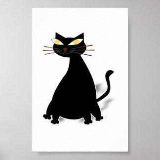 Gato gordo negro póster