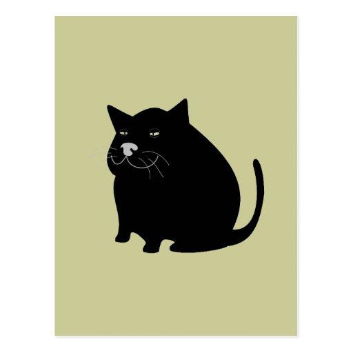 Gato gordo negro tarjetas postales