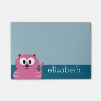Gato gordo rosado lindo - fondo azul nota post-it