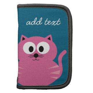 Gato gordo rosado lindo - fondo azul planificadores