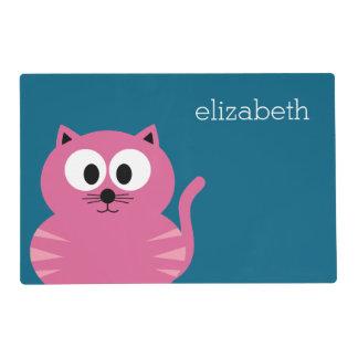 Gato gordo rosado lindo - fondo azul salvamanteles