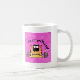Gato gordo taza de café