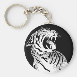 Gato grande agresivo del tigre blanco del LLAVERO