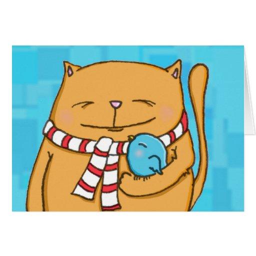 gato grande de los corazones calientes frescos del tarjeta de felicitación