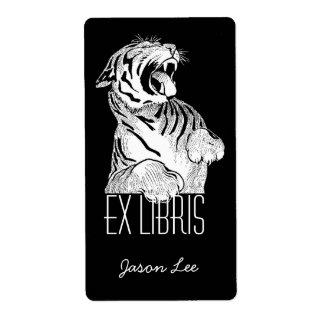 Gato grande del ex tigre blanco de Libris de los B Etiquetas De Envío