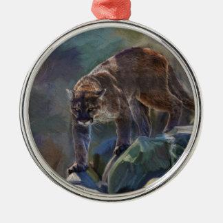 Gato grande del león de montaña del puma que pinta ornamento para reyes magos