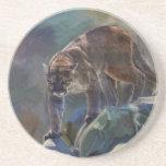 Gato grande del león de montaña del puma que pinta posavasos para bebidas