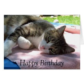 Gato grande del muchacho en tarjeta de cumpleaños