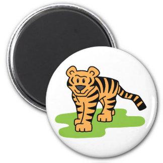 Gato grande del tigre de Bengala del clip art del Imán Redondo 5 Cm