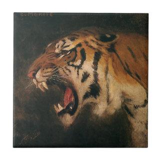 Gato grande que ruge, animal salvaje del tigre de azulejo cuadrado pequeño