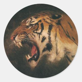 Gato grande que ruge, animal salvaje del tigre de pegatina redonda
