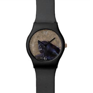 Gato grande salvaje de la pantera negra de Jaguar Reloj
