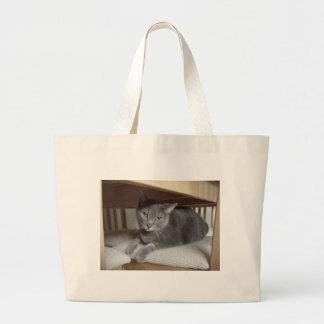 Gato gris/azul ruso bolsa tela grande