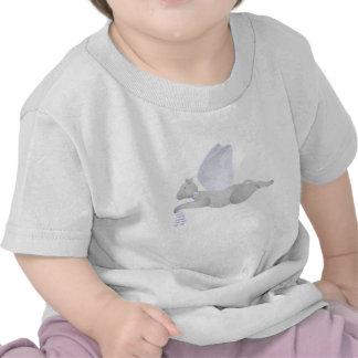 Gato gris claro del ángel con Blue Wings Camiseta