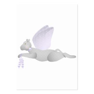 Gato gris claro del ángel con las alas púrpuras tarjetas de visita grandes