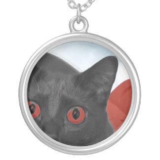 Gato gris con la imagen mezclada ojos del naranja pendiente personalizado