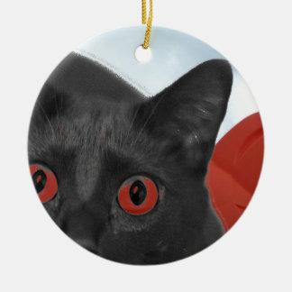 Gato gris con la imagen mezclada ojos del naranja adorno para reyes