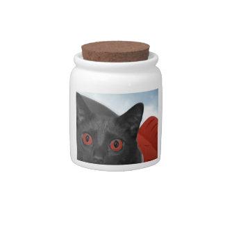 Gato gris con la imagen mezclada ojos del naranja jarra para caramelo
