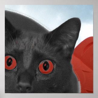 Gato gris con la imagen mezclada ojos del naranja posters
