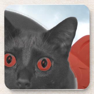 Gato gris con la imagen mezclada ojos del naranja posavasos de bebidas