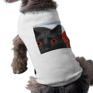 Gato gris con la imagen mezclada ojos del naranja playera sin mangas para perro
