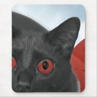 Gato gris con la imagen mezclada ojos del naranja alfombrillas de ratón