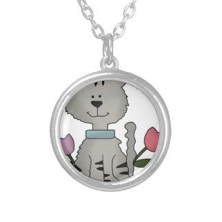 gato gris de la primavera colgante redondo
