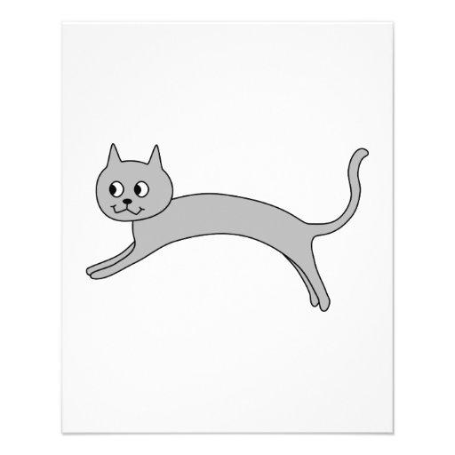 """Gato gris de salto folleto 4.5"""" x 5.6"""""""