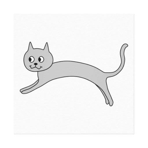 Gato gris de salto impresion en lona