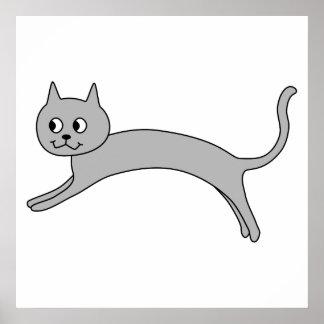 Gato gris de salto posters