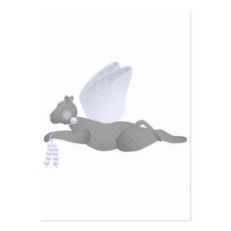 Gato gris del ángel con Blue Wings Tarjetas De Visita Grandes