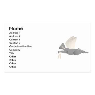 Gato gris del ángel con las alas anaranjadas tarjetas de visita