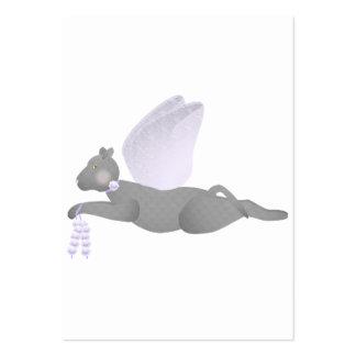 Gato gris del ángel con las alas púrpuras tarjetas de visita grandes