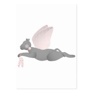 Gato gris del ángel con las alas rosadas tarjetas de visita grandes