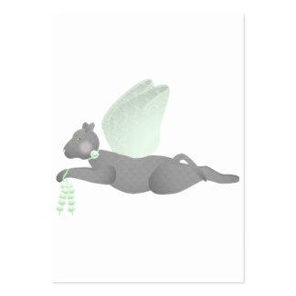 Gato gris del ángel con las alas verdes tarjetas de visita grandes