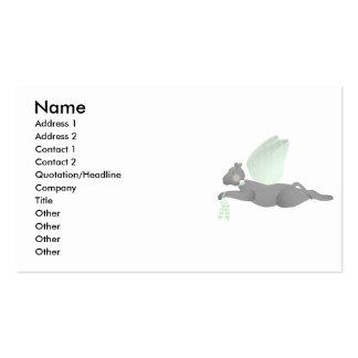 Gato gris del ángel con las alas verdes tarjetas de visita
