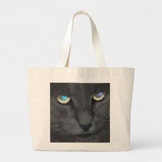 Gato gris del gatito de la diversión con los ojos bolsa tela grande