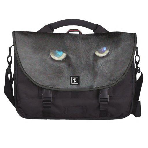 Gato gris del gatito de la diversión con los ojos  bolsas para portatil