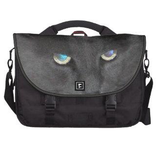 Gato gris del gatito de la diversión con los ojos  bolsa para ordenador