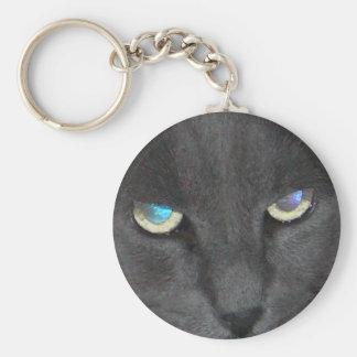 Gato gris del gatito de la diversión con los ojos llavero redondo tipo pin