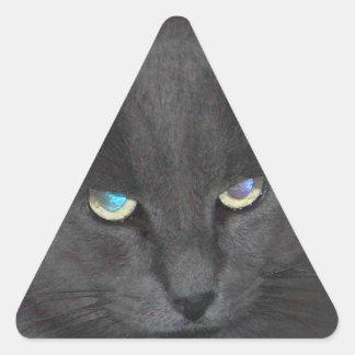 Gato gris del gatito de la diversión con los ojos calcomanías triangulos personalizadas