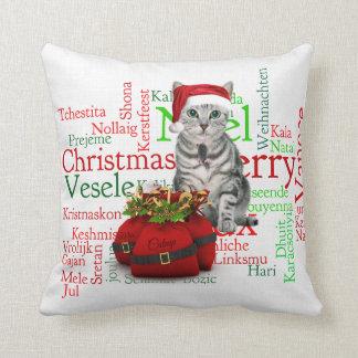 Gato gris del navidad del Tabby del monograma Cojín