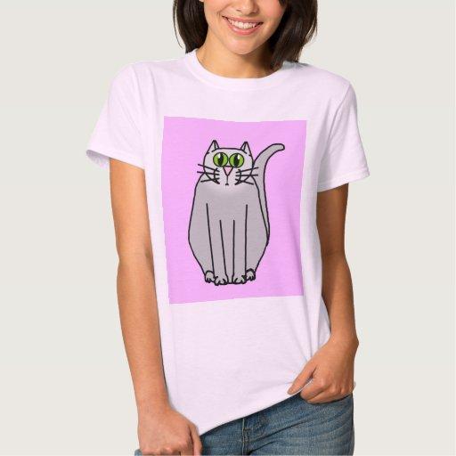 Gato gris divertido del dibujo animado remera