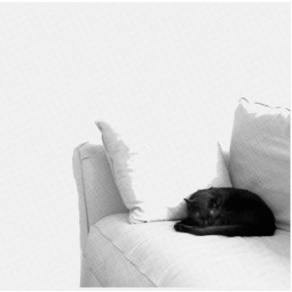 Gato gris el dormir en el sofá blanco esculturas fotográficas